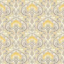 retro damask wallpaper vintage flora nouveau metallic silver grey