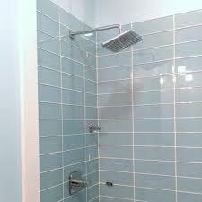 bathrooms design light blue subway tile metal backsplash blue