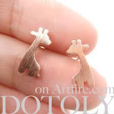 giraffe earrings giraffe shape animal stud earrings in copper with sterling silver