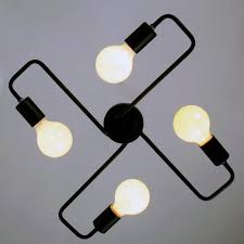 4 Light Ceiling Fixture Black Vintage Barn Metal Semi Flush Mount Ceiling Lighting With 4