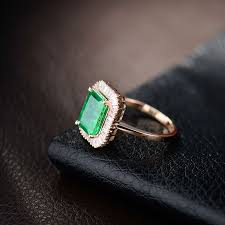 Aliexpress Com Buy German Online European Antique Rose Gold Jade 18kt Rose Gold Natural Green Emerald Real Diamond Rings For Women