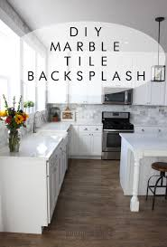 Backsplash In White Kitchen My Diy Marble Backsplash Honeybear Lane