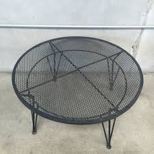 Mesh Wrought Iron Patio Furniture by 1950 U0027s 3 Piece Wrought Iron Cocktail Patio Table And Chairs