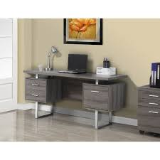 60 Inch Computer Desk Taupe Reclaimed Look Silver Metal 60 Inch Office Desk