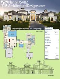 plan 430003ly 3 bed hill country house plan with two living wings