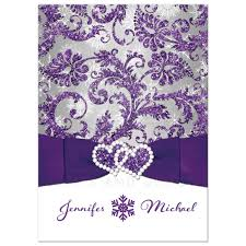 purple and silver wedding invitations winter wedding invitation purple silver white