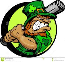 st patricks day leprechaun holding baseball bat stock image