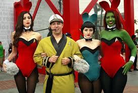 Hugh Hefner Halloween Costume Cosplay Mashup U2013 Hugh Hefner Playboy Bunnies Meets Star Trek