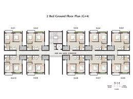 2 bhk apartment in joka plan ground floor u0026 typical block plan