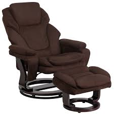 contemporary brown microfiber recliner and ottoman with swiveling