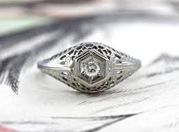 antique diamond engagement rings antique diamond engagement ring 14k deco white gold filigree