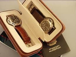Double watch travel storage case light purple alligator grain
