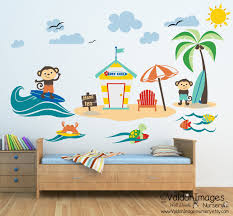 surfing monkey wall decal wall decor monkey nursery