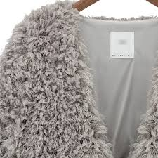 women fluffy shaggy faux fur cardigan slim jacket parka coat