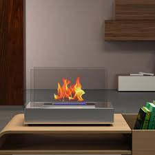 decor 14 inch vent free ethanol fireplace in stainless steel