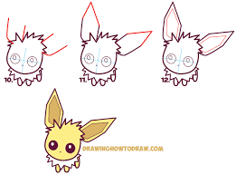how to draw cute kawaii chibi jolteon from pokemon easy step