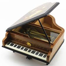 50 tones wooden piano music box walnut musical boxes for princess