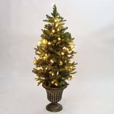 4ft pre lit slim artificial potted real feel pe tree warm white bulbs