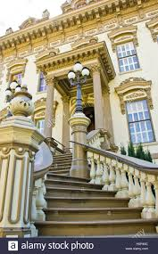 old ornate staircase a mansion in sacramento stock photo