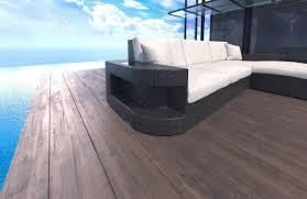 Outdoor Laminate Flooring Wicker Patio Sofa Jacksonville L Shape With Led