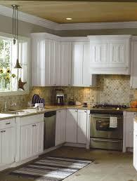 Backsplash For White Cabinets And Black Granite Small White - Country kitchen tile backsplash
