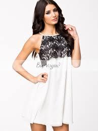 semi formal dress black lace white sleeveless casual dress