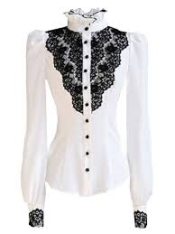 black blouse with white collar choies s vintage white with black lace stand up collar puff