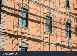 scaffolding neoclassical house restoration old building stock