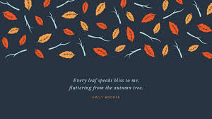 Orange Leaves and Branches Fall Quote Desktop Wallpaper