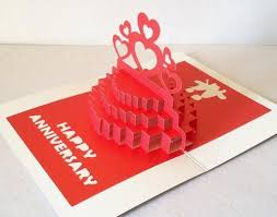 3d pop up anniversary cake greeting card handmade best gift