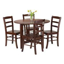 round drop leaf table and 4 chairs amazon com winsome 5 piece alamo round drop leaf table with 4