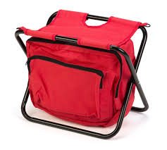 portable folding camp stool with storage pouch by trademark