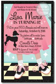 custom birthday invitations 1950 s poodle skirt custom birthday invitation 1950s retro poodle
