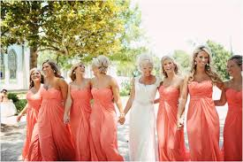 coral strapless bridesmaids dresses coral wedding photo