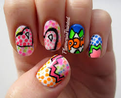 gelish pop art nail art funky fingers factory nail art funny