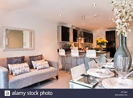 show home kitchen diner with sofa stock photo royalty free