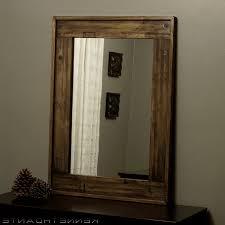 large wood mirror for beach bathroom with shelf solid oak frames