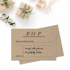 Wedding Invitation Reply Cards Rustic Wedding Rsvp Cards Wedding Invitation And Rsvp Card Kraft