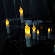 flickering light bulb halloween liander set of 12 yellow flameless ivory mini wax dipped led