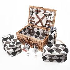 savisto luxury 4 person wicker picnic basket with full picnic set