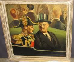 rare 1939 oil painting of pres roosevelt u0026 king george vi