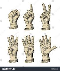 set gestures hands counting zero five stock vector 401927530