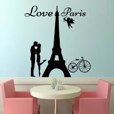 popular paris wall decals buy cheap lots from dctop angels love paris wall decals lover kissing and bike removable home decor pvc art