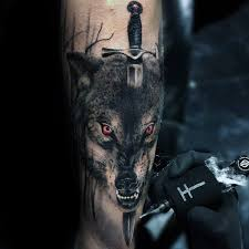 mens wolf dagger outer forearm