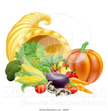 thanksgiving note vector illustration of a harvest of fall vegetables and a