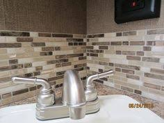 Kitchen Backsplash Peel And Stick I Absolutely Want This Tile Brown Cream And Blue Glass Mosaic