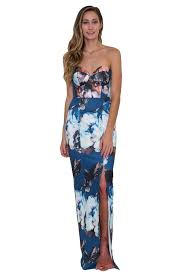 bariano dresses bariano arlene strapless floral print gown mosa boutique
