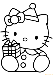 Hello Kitty With Christmas Gift Box Coloring Page Free Coloring Box Coloring Pages