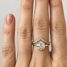 white gold engagement ring with yellow gold wedding band simple and pretty custom engagement ring featuring a 1 94 carat