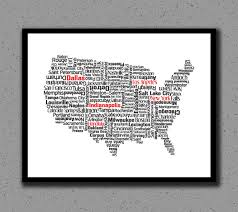 usa map with states distance united states us usa print map state wall decor wall